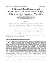 Ethics And Retail Management Professionals: An Examination Of Age, Education, And Experience Variabl