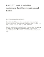 BSHS 322 week 1 Individual Assignment Text Exercises & Journal Entries