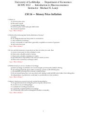 CH 24 Money Price Inflation