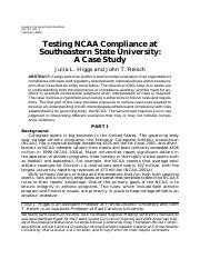Testing NCAA Compliance at Southeastern State University - a case study