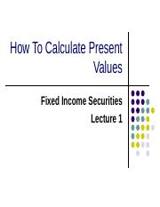 Lecture 1Calculating Present Value