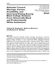 Attitudes Toward Marriage, Partner Availability, and Interracial Dating Among Black College Students