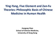 Lecture 1_Ying Yang, Five Element and Zan-Fu Theories
