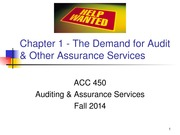 ACC 450 1 The Demand for Auditing Fall 14