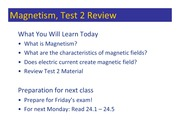 Class 082 - Magnetism, Review Test 2