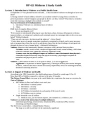 HP 421 Midterm 1 Study Guide