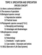 BIOL 339 Lecture Topic 9 - Species and Speciation