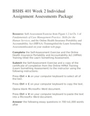 BSHS 401 Week 2 Individual Assignment Assessments Package
