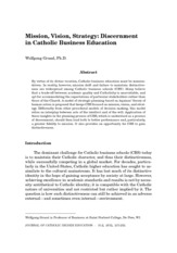 Mission, Vision, Strategy - Discernment in Catholic Business Education