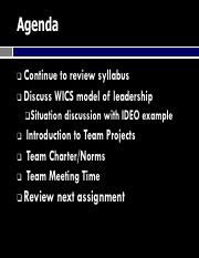 ENGI 315 Fall 2016 Class 1B WICS approach to leadership