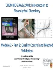 Module 2 - Part 2 - Quality Assessment - Method Validation