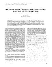 FEMALE LEADERSHIP ADVANTAGE