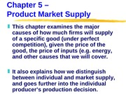 ECN 203 (5), Product Market Supply