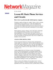 Basic Phone Services