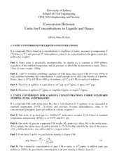 Conversion Between Gravimetric and Volumetric Units for Gases(1)
