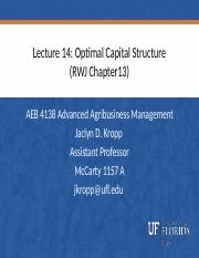 Lecture 14 Optimal Capital Structure.pptx