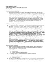 Notes Module 6 Cultural Proficiency in Addressing Health Disparities Chapter 1.docx