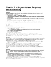 Study Guide - Chapter 8 - Segmentation, Targeting, and Positioning
