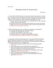 Yun Worksheet 7 - Thursday 9am Worksheet for Bio 97 Genetics Dis 2 ...