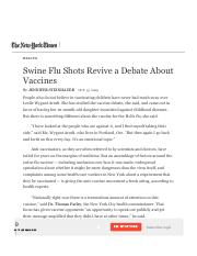 Swine Flu Shots Revive a Debate About Vaccines - The New York Times.pdf