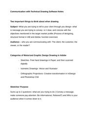 Communication with Technical Drawing Software Notes
