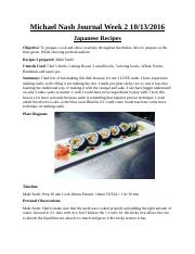 Asian Cusine Journal Week 2
