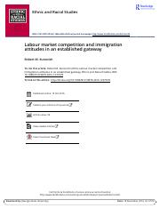 LABOUR MARKET COMPETITION AND IMMIGRATION ATTITUDES IN AN ESTABLISHED GATEWAY