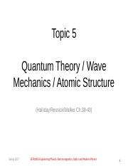 Topic 5 - Quantum Theory, Wave Mechanics, and Atomic Structure-ESTR1003(1)