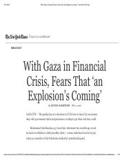 With Gaza in Financial Crisis, Fears That 'an Explosion's Coming' - The New York Times.pdf