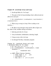 Chapter 20 – JavaScript Arrays and Loops