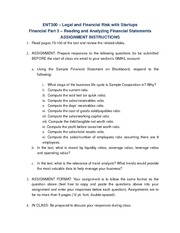 Financial Part 3 - Reading and Analyzing Financial Statement Assignment Instructions
