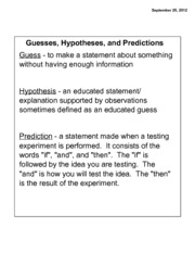 Guesses, Hypotheses and Predictions Notes