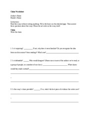 Claim Worksheet