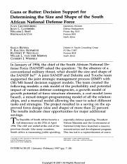 Guns or Butter Decision Support for Determining the Size and Shape of the South African National Def