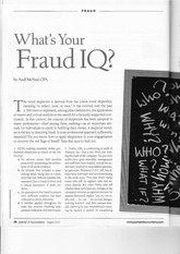 Whats Your Fraud IQ - Aug 2013 - AICPA