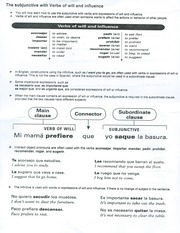 Subjunctive with Verbs of will and influence with exercise