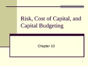 Chapter 12 - Risk, Cost of Capital & Capital Budgeting