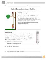 Student Exploration- Atwood Machine (ANSWER KEY).docx ...