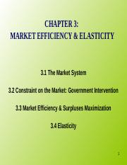 Chapter 3 Market Efficiency and Elasticity 1