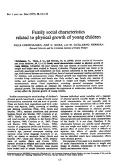 Christiansen et al - Family social characteristics related to physical growth of young children