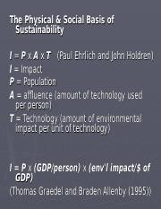 Physical Social Basis of Sustainability