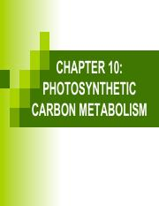 10- SBF 3013 PHOTOSYNTHETIC CARBON METABOLISM