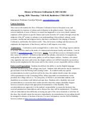 History of Western Civilization II, HIS 102-002, Syllabus, Spring, 2020 (2).docx