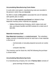 Accumulating Manufacturing Costs Notes