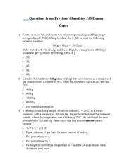 Questions from Previous Chemistry 115 Exams Gases