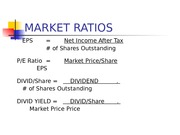 Market Ratios  Income Statements Extract