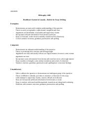 Healthcare in Canada - Rubric for Essay Writing