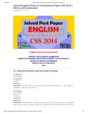 Solved English (Précis & Composition) MCQs Paper CSS 2014.pdf