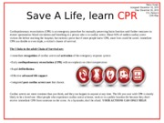Save A Life, learn CPR