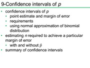 Confidence intervals of p